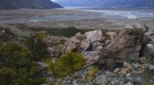 Shot Zooms Out. Valley View Looking At The Glacial Headwaters Of Lake Pukaki. Mount Cook, New Zealand.