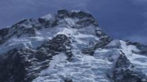 Glaciers Cling To The Steep Mountains Of The Southern Alps. Southern Alps, New Zealand.