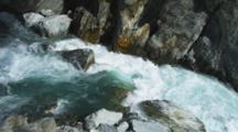 Haast Pass, River Rushing Over Rocky Canyon, Aqua Blue Fresh Water.
