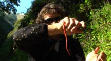 Person Handles Snake With Red Belly, Possibly Pacific Ring-necked Snake