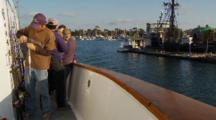 Humboldt Squid Fishing, Preparing Lures, Boat Departs Harbor