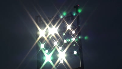 time laps Stadium lights turning on