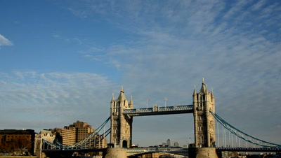 time lapse clouds move above Tower bridge,London