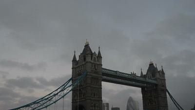 time lapse storm clouds move above Tower bridge,London