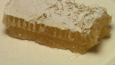 drizzle honey onto honeycomb from hive