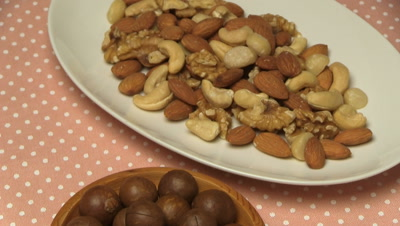 mixed nuts,Macadamia nuts in bowl