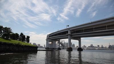 Rainbow Bridge and Tokyo cityscape skyline across bay,from Daiba Park