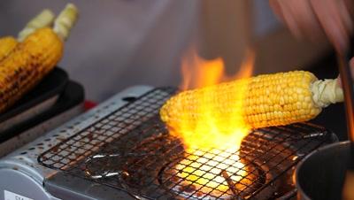 Food,roasting corn At Japanese traditional summer festival,Tsukiji Honganji Shrine
