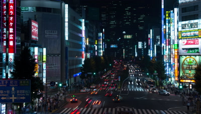 Time-lapse view of Shinjuku traffic at night, Tokyo, Japan