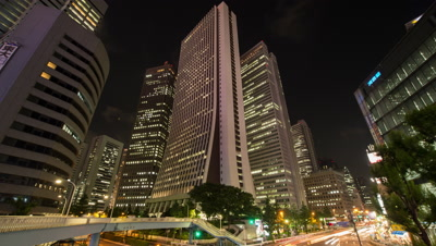 Time-lapse view of Sompo Japan Head Office Building and traffic in Shinjuku at night,Tokyo,Japan