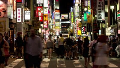 Time-lapse night view of people walking around Kabukicho area in Shinjuku,Tokyo,Japan