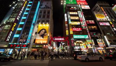 Time-lapse night pan up view of Kabukicho area in Shinjuku,Tokyo,Japan