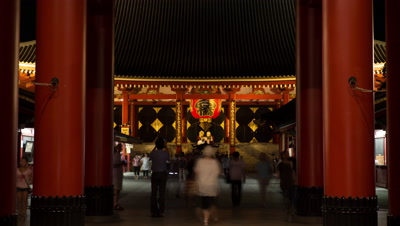 Time-lapse zoom-in front view of people visiting Senso-ji temple,Tokyo,Japan