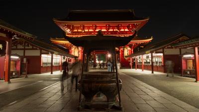 Time-lapse front view of people walking by incense cauldron at Senso-ji temple, Tokyo, Japan
