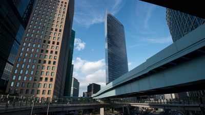 Time-lapse view of Shiodome business district and Yurikamome line,Tokyo,Japan