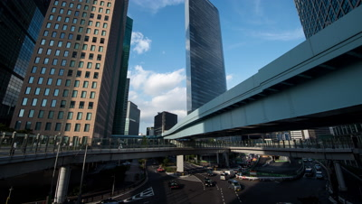 Time-lapse pan-up view of Shiodome business district and Yurikamome line,Tokyo,Japan