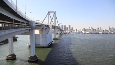 View of Rainbow Bridge and Tokyo cityscape in the background