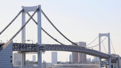 View of Rainbow Bridge and Tokyo cityscape in the background,Tokyo,Japan