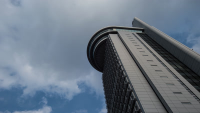 Time Lapse View Of Bunkyo Civic Center Building And Clouded Sky,Tokyo,Japan