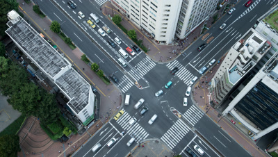 Time Lapse looking down on Traffic At Tomisakaue Crossing,Tokyo,Japan