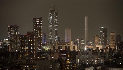 Time Lapse Night View Of Ikebukuro Skyscrapers Area, Tokyo, Japan