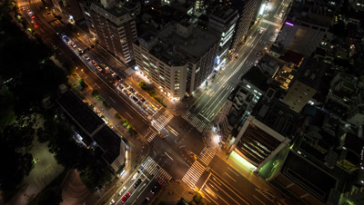 Time Lapse Left To Right Night View Of Traffic At Tomisakaue Crossing, Tokyo, Japan