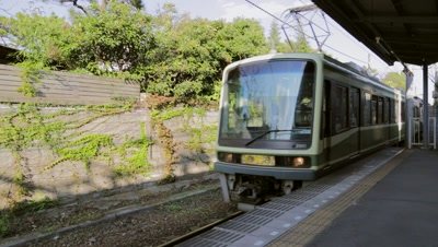 Enoden train approaching in Enoshima, Kanagawa Prefecture, Japan