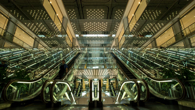 Time lapse wide view of department store escalator in Tokyo,Japan