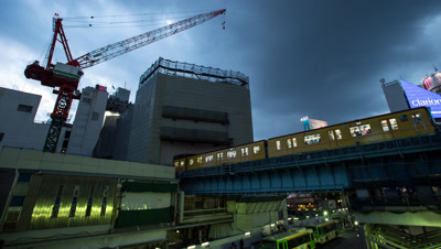 Time lapse trains,evening sky over Shibuya station,Tokyo,Japan