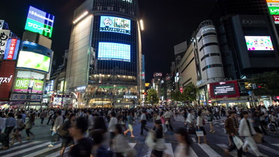 Time lapse pan-up footage of pedestrians and vehicles at Shibuya scramble crossing at night,Tokyo,Japan