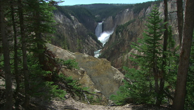 Yellowstone Falls Seen From A Distance With Trees In Foreground