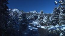 Stream Runs Through Snow Covered Forest