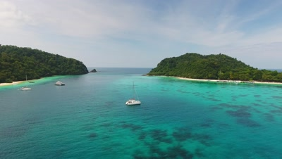 Aerial video of beauty nature landscape with beach, corals and sea on Koh Rok island, Thailand, 4k
