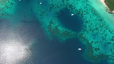 Top view aerial video of beauty nature landscape with beach, corals and sea on Koh Rok island, Thailand, 4k
