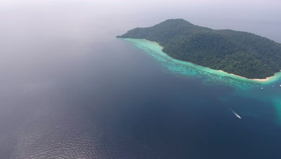 Aerial panorama view of beauty nature landscape with beach, corals and sea on Koh Rok island, Thailand, 4k