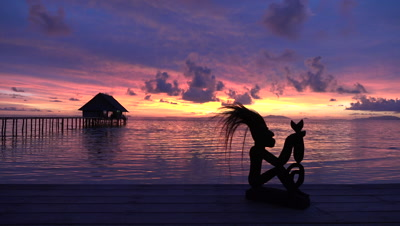 Time lapse of sunset over ocean in Raja Ampat