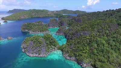 Flying over Fam islands in Raja Ampat
