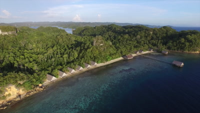 Flying towards the main bay of Pulau Pef in Raja Ampat