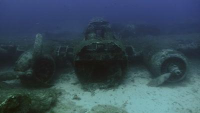 under water shot of airplane wreck,Boeing B17,Mediterranean sea