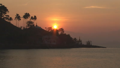 Sunrise With Buddhist Monument At Kaw Thaung In Myanmar