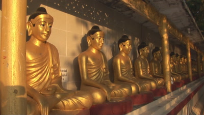 Golden Buddha Statues At A Burmese Temple In Kaw Thaung, Myanmar
