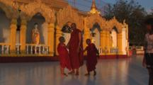 Buddhist Monks At Kaw Thaung Temple In Myanmar