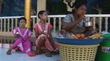 Burmese Girls With Thanakha Face Paint At Kaw Thaung In Myanmar
