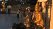 Golden Buddha Statues At Buddhist Temple At Kaw Thaung In Myanmar