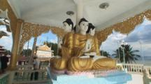 Buddha Statues In The Buddhist Temple At Kaw Thaung, Myanmar