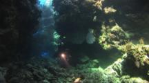 Scuba Diver Shines Light In Atmospheric Underwater Swimthrough