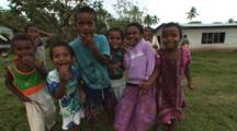 Smiling Fijian Children Fascinated By Camera