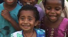 Laughing Fijian Children Fascinated By Camera