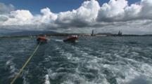 Rigid Inflatable Boats Towed Behind Scuba Diving Liveaboard Boat Leaving Lautoka, Fiji