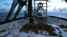 Hauling In Net On Shrimp Trawler